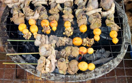 giblets: Grilled giblets over gridiron and natural charcoal
