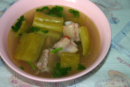 Chinese bitter gourd with pork soup photo