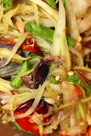 Traditional Thai style crab papaya and mixed vegetables salad photo