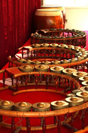 Round shape gongs - The picture of some musical instruments used in the traditional and classical music of Thailand