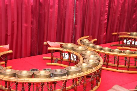 Round shape gongs - The picture of some musical instruments used in the traditional and classical music of Thailand Stock Photo - 11201157