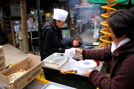 NAMINARA REPUBLIC, KOREA - NOVEMBER 26 : The unidentified man and woman are selling grilled sausages to the tourists at ferry port on November 26, 2011 at Naminara Republic, Korea.