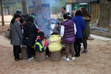 NAMINARA REPUBLIC, KOREA - NOVEMBER 26 : The unidentified group of tourists are sitting and some standing around fireplace on November 26, 2011 at Nami island, Naminara Republic, Korea.