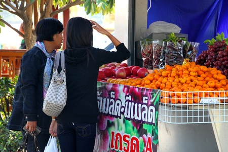 PHA NOK KHAO, LOEI, THAILAND - DECEMBER 12 : The unidentified tourists are buying One Tambol One Product fruits on December 12, 2011 at Pha Nok Khao footpath market, Loei, Thailand. Stock Photo - 11459180