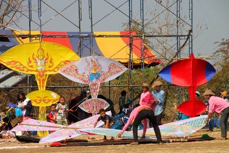HUAI RAT, BURIRAM - DECEMBER 18 : The northeast of Thailand kites festival season on December 18, 2011 at sport ground, Huai Rat, Buriram.