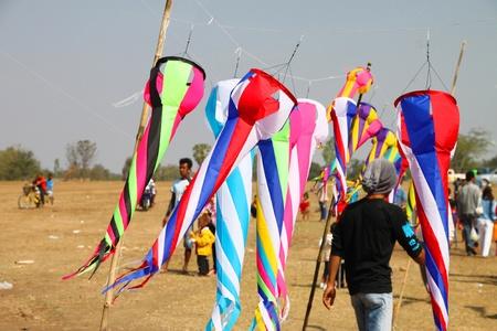 HUAI RAT, BURIRAM - DECEMBER 18 : The kites market in northeast of Thailand kites festival season on December 18, 2011 at sport ground, Huai Rat, Buriram. Stock Photo - 11565630