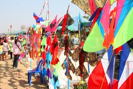 HUAI RAT, BURIRAM - DECEMBER 18 : The kites market in northeast of Thailand kites festival season on December 18, 2011 at sport ground, Huai Rat, Buriram.
