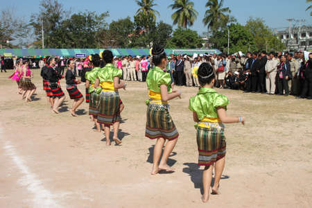 BORABUE, MAHASARAKHAM - DECEMBER 28 : The unidentified dancers are performing in happy new year grand opening festival on DECEMBER 28, 2011 at sports ground, Borabue, Mahasarakham, Thailand.