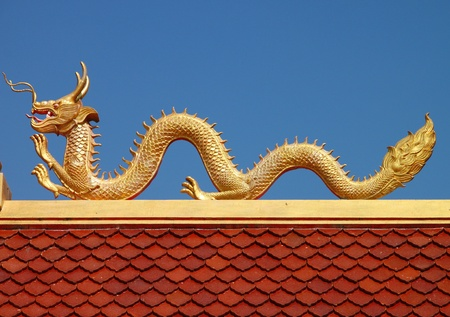 Golden dragon image on roof of Buddhist temple photo