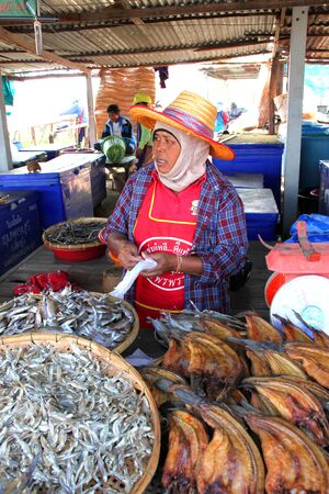 CHUMPONBURI, SURIN - DECEMBER 18 : The unidentified woman is selling dried fishes on December 18, 2011 at outdoor fishes market, Chumponburi, Surin, Thailand.  Stock Photo - 11728826