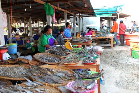 CHUMPONBURI, SURIN - DECEMBER 18 : The unidentified woman is selling dried fishes on December 18, 2011 at outdoor fishes market, Chumponburi, Surin, Thailand. Stock Photo - 11728830