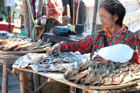 PAYAKKAPHUMPHISAI, MAHASARAKHAM - JANUARY 1 : The unidentified woman is selling dried fishes on January 1, 2012 at outdoor fishes market, Payakkaphumphisai, Mahasarakham, Thailand. Stock Photo - 11728820