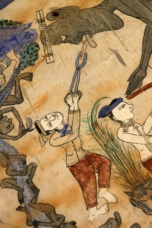 (Public Domain)Old painting of religious and traditional Thai culture at Wat Ban Yang, Borabue, Mahasarakham.