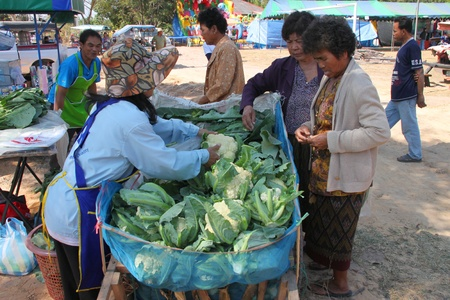 BORABUE, MAHASARAKHAM - JANUARY 6 : The unidentified woman is buying vegetable in Rice Celebration Festival on January 6, 2012 at Borabue Local Administration Plaza, Borabue, Mahasarakham, Thailand. Stock Photo - 11817635