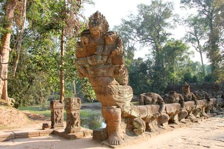 handscraft: Naga statue in ancient Khmer architecture, Prasat Praeh Khan