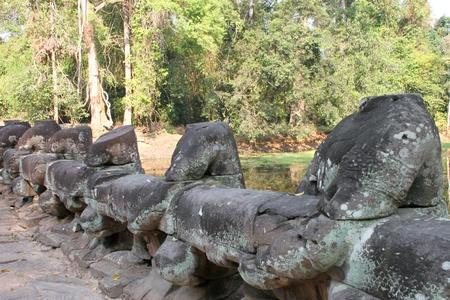 naga china: Ruin statue in ancient Khmer architecture, Prasat Praeh Khan