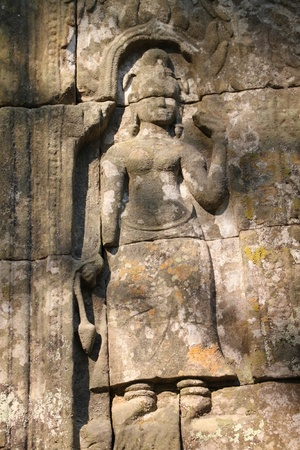 thom: Apsara statue in ancient Khmer architecture, Prasat Praeh Khan Stock Photo