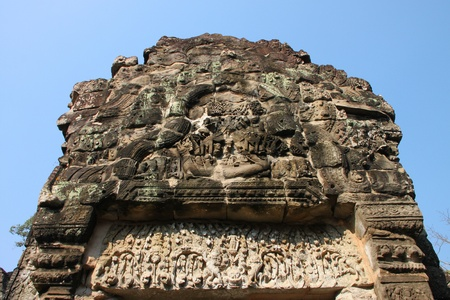 Carvings statue in ancient Khmer architecture, Prasat Praeh Khan photo