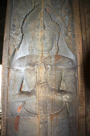 Guardian statue in ancient Khmer architecture, Prasat Praeh Khan photo