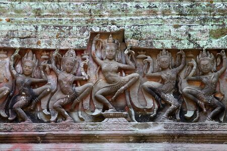 handscraft: Carvings Apsara on wall in ancient Khmer architecture, Prasat Praeh Khan