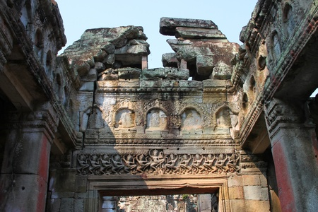 Carvings Apsara in ancient Khmer architecture, Prasat Praeh Khan photo