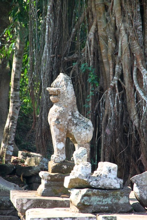 Lion statue in ancient Khmer architecture, Prasat Praeh Khan photo