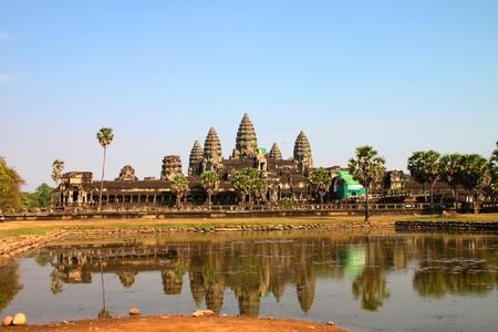 handscraft: Front view of Angkor Wat, Siemreap, Khmer Republic.