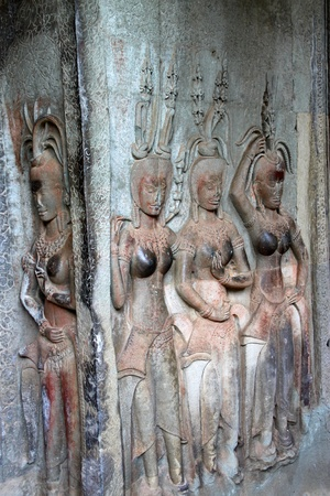 thom: Apsara carving on wall of Angkor Wat, Siemreap, Khmer Republic