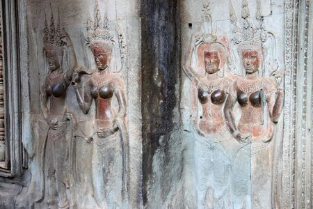 handscraft: Apsara carving on wall of Angkor Wat, Siemreap, Khmer Republic