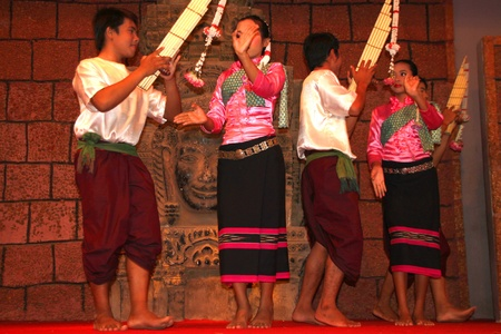 indo china: SIEMREAP, KHMER REPUBLIC - FEBRUARY 10 : The unidentified Khmer Dancers are performing on February 10, 2012 at Tonle Sap Restaurant, Siemreap, Khmer Republic.