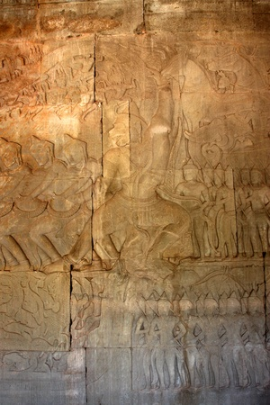 thom: Carvings on wall and terrace of Angkor Wat, Siemreap, Khmer Republic