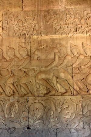 Carvings on wall and terrace of Angkor Wat, Siemreap, Khmer Republic  photo