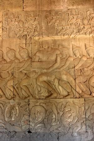 handscraft: Carvings on wall and terrace of Angkor Wat, Siemreap, Khmer Republic