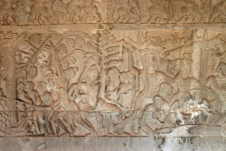 Carvings on wall and terrace of Angkor Wat, Siemreap, Khmer Republic. Stock Photo - 12639072