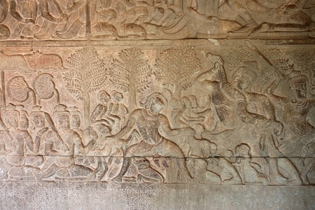 Carvings on wall and terrace of Angkor Wat, Siemreap, Khmer Republic. photo
