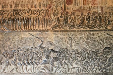 Sculptures sur le mur et une terrasse d'Angkor Wat, Siem Reap, la R�publique khm�re.