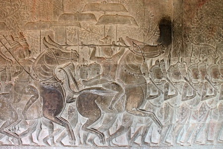 thom: Carvings on wall and terrace of Angkor Wat, Siemreap, Khmer Republic. Stock Photo