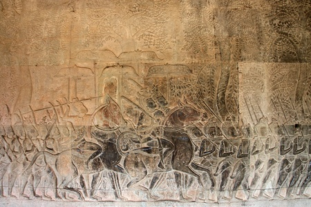 Carvings on wall and terrace of Angkor Wat, Siemreap, Khmer Republic. Stock Photo
