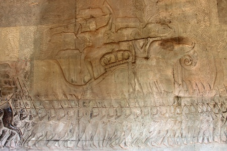 Carvings on wall and terrace of Angkor Wat, Siemreap, Khmer Republic. Stock Photo - 12639116