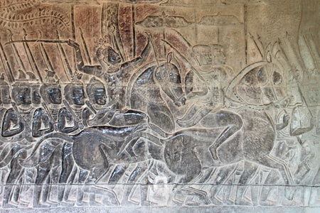 Carvings on wall and terrace of Angkor Wat, Siemreap, Khmer Republic. Stock Photo - 12639060