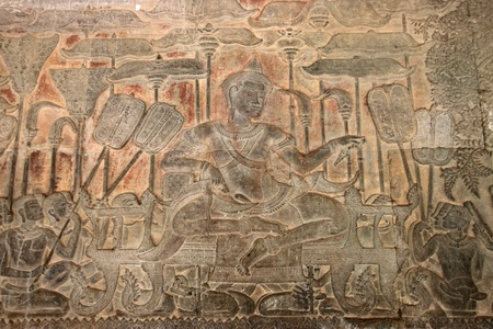 Carvings on wall and terrace of Angkor Wat, Siemreap, Khmer Republic. Stock Photo - 12639063