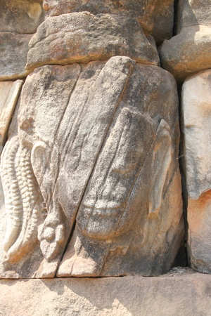 handscraft: Stone carving in Terrace of the elephants, Angkor Thom, Siemreap
