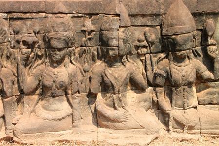 lepra: Talla de piedra en Terraza de los Elefantes, Angkor Thom, Siemreap