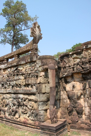 naga china: Terrace of the elephants, Angkor Thom, Siemreap