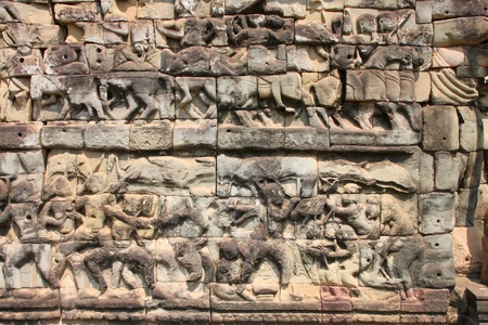 Terrace of the elephants, Angkor Thom, Siemreap photo