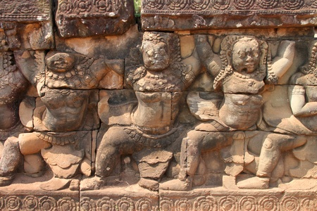 Guardians statue in Terrace of the elephants, Angkor Thom, Siemreap photo
