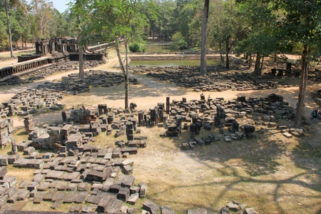 indo china: Pile of stones for building in ancient Angkor Thom Stock Photo