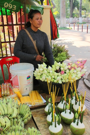 SIEMREAP, KHMER REPUBLIC - FEBRUARY 12 : The unidentified woman is selling religious offerings and flowers on February 12, 2012 at City Pillar, Siemreap, Khmer Republic. Stock Photo - 12559609