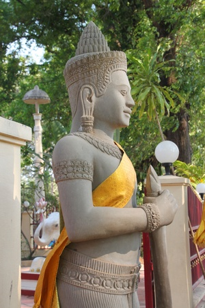 indo china: Religious statue in buddhist city pillar, Siemreap, Khmer Republic Stock Photo