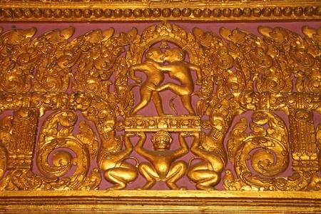 indo china: Art stucco on wall of Buddhist temple